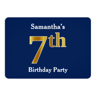 Blue, Faux Gold 7th Birthday Party + Custom Name Card