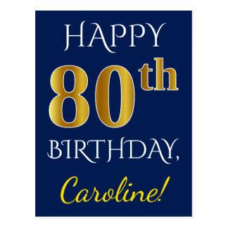 Blue, Faux Gold 80th Birthday + Custom Name Postcard