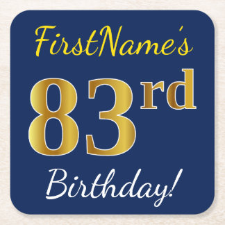 Blue, Faux Gold 83rd Birthday + Custom Name Square Paper Coaster
