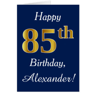 Blue, Faux Gold 85th Birthday + Custom Name Card