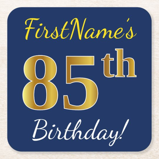Blue, Faux Gold 85th Birthday + Custom Name Square Paper Coaster