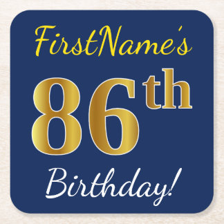 Blue, Faux Gold 86th Birthday + Custom Name Square Paper Coaster