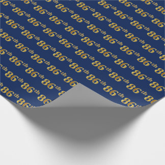 Blue, Faux Gold 86th (Eighty-Sixth) Event Wrapping Paper