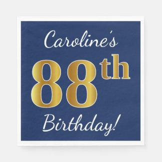 Blue, Faux Gold 88th Birthday + Custom Name Disposable Napkin