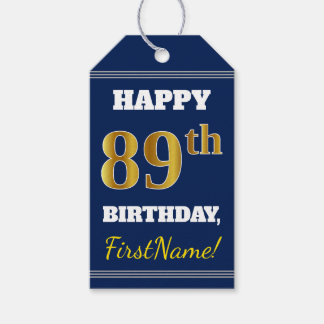 Blue, Faux Gold 89th Birthday + Custom Name Gift Tags