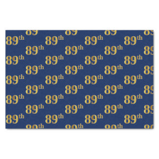 Blue, Faux Gold 89th (Eighty-Ninth) Event Tissue Paper