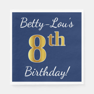 Blue, Faux Gold 8th Birthday + Custom Name Disposable Napkins