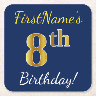 Blue, Faux Gold 8th Birthday + Custom Name Square Paper Coaster