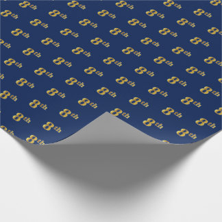 Blue, Faux Gold 8th (Eighth) Event Wrapping Paper