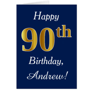 Blue, Faux Gold 90th Birthday + Custom Name Card