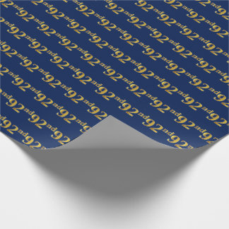 Blue, Faux Gold 92nd (Ninety-Second) Event Wrapping Paper