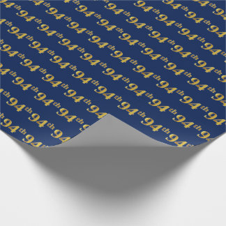 Blue, Faux Gold 94th (Ninety-Fourth) Event Wrapping Paper