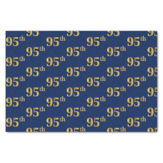 Blue, Faux Gold 95th (Ninety-Fifth) Event Tissue Paper