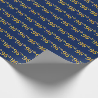 Blue, Faux Gold 96th (Ninety-Sixth) Event Wrapping Paper