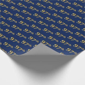 Blue, Faux Gold 97th (Ninety-Seventh) Event Wrapping Paper