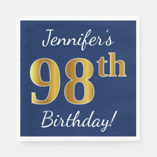 Blue, Faux Gold 98th Birthday + Custom Name Disposable Napkins