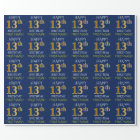 "Blue, Faux Gold ""HAPPY 13th BIRTHDAY"" Wrapping Paper"