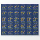 "Blue, Faux Gold ""HAPPY 25th BIRTHDAY"" Wrapping Paper"