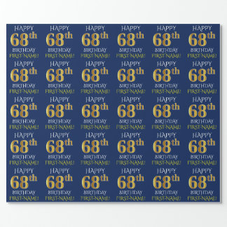"Blue, Faux Gold ""HAPPY 68th BIRTHDAY"" Wrapping Paper"