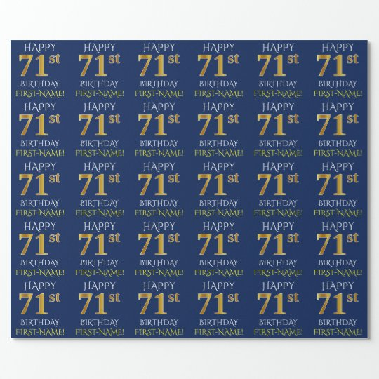 "Blue, Faux Gold ""HAPPY 71st BIRTHDAY"" Wrapping Paper"