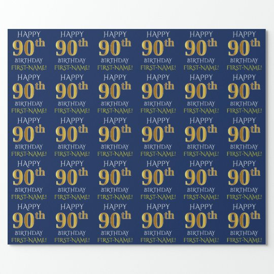 "Blue, Faux Gold ""HAPPY 90th BIRTHDAY"" Wrapping Paper"