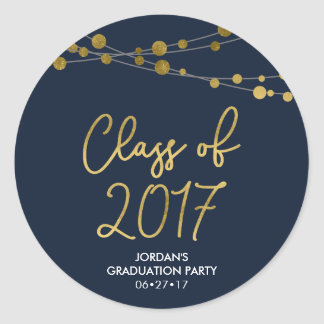 Blue Faux Gold Lights Class of 2017 Grad Party Classic Round Sticker