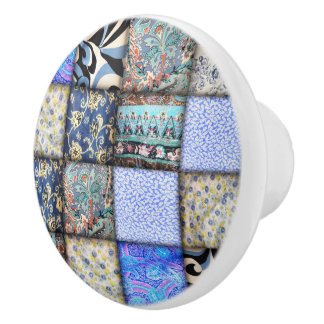 Blue Faux Patchwork Quilting Pattern Ceramic Knob
