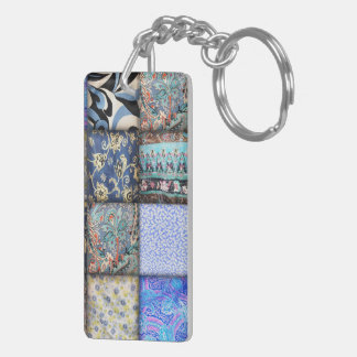 Blue Faux Patchwork Quilting Pattern Double-Sided Rectangular Acrylic Keychain
