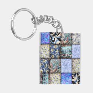 Blue Faux Patchwork Quilting Pattern Double-Sided Square Acrylic Keychain