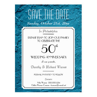 Blue Faux Textured Party Reunion Save the Date Postcard