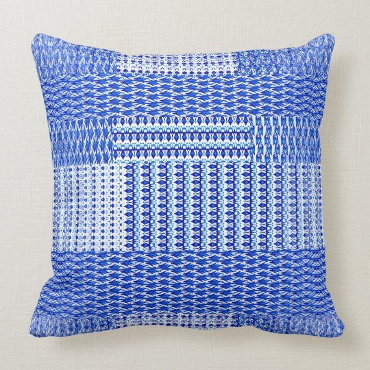 Blue Faux Weave Design on Throw Pillow