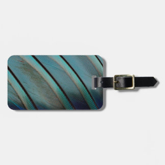 Blue feather pattern bag tag
