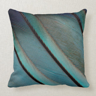 Blue feather pattern throw pillow