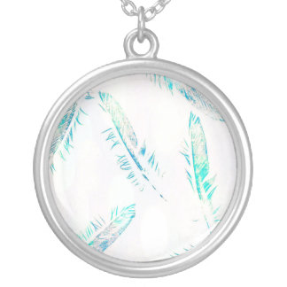 Blue Feather Print Silver Plated Necklace