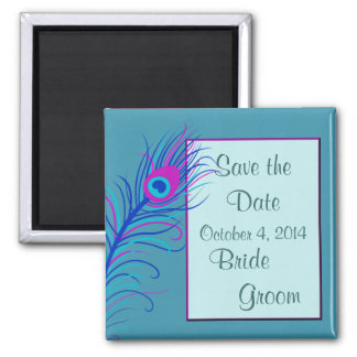 Blue Feather Save the Date Magnet