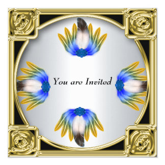 Blue Feather Silver Gold Frame Card