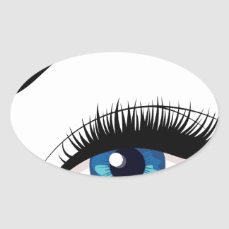 Blue Female Eye Oval Sticker
