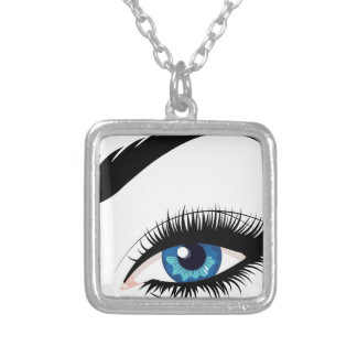 Blue Female Eye Silver Plated Necklace