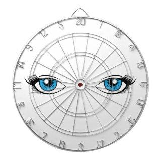 Blue Female Eyes Cartoon Graphic Dartboard
