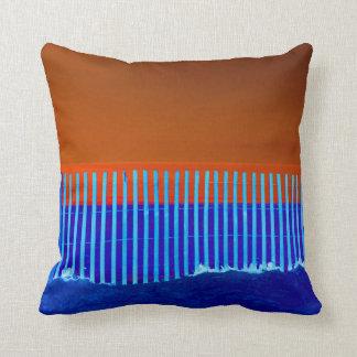 blue fence blue sand orange sky florida beach throw pillow