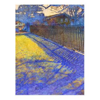 Blue Fence Shadows Postcard