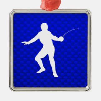 Blue Fencing Metal Ornament