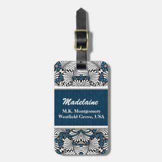 Blue Fern Leaf Print with White and Black Luggage Tag