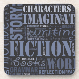 Blue Fiction Writer's Word Cloud Coaster