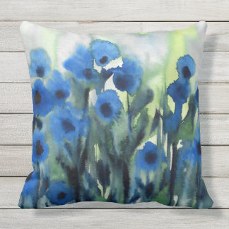 'Blue Field of Flowers' Abstract Watercolor Outdoor Pillow