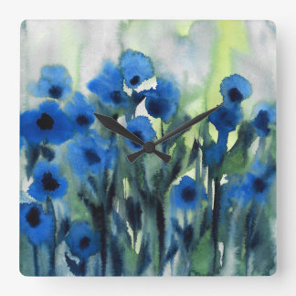 'Blue Field of Flowers' Abstract Watercolor Square Wall Clock