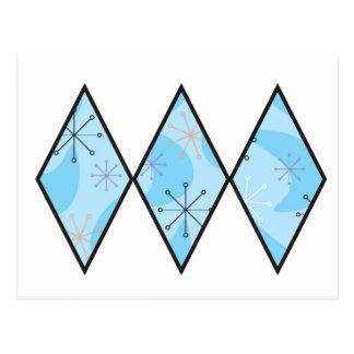 Blue Fifties Diamonds Postcard