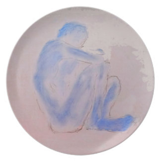 Blue Figurative Mauve Art Dinner Plates