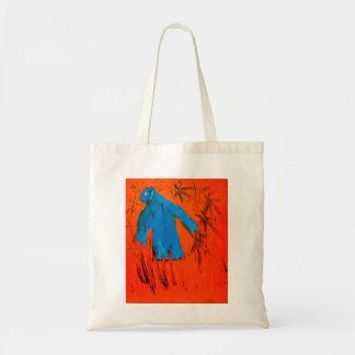 Blue figure on orange by Johnny Tote Bag