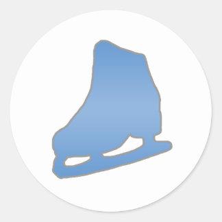 Blue Figure Skate Classic Round Sticker